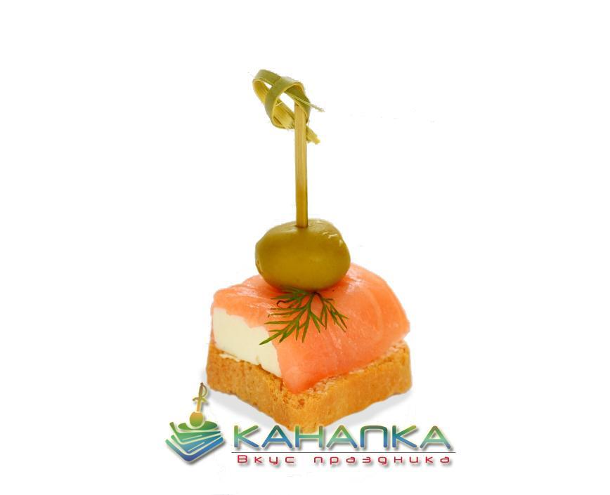 Канапе «Семга с сыром на тосте»