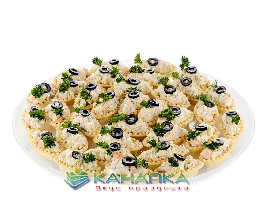Мини тарталетки с салатом «Нежность» — 25 шт.