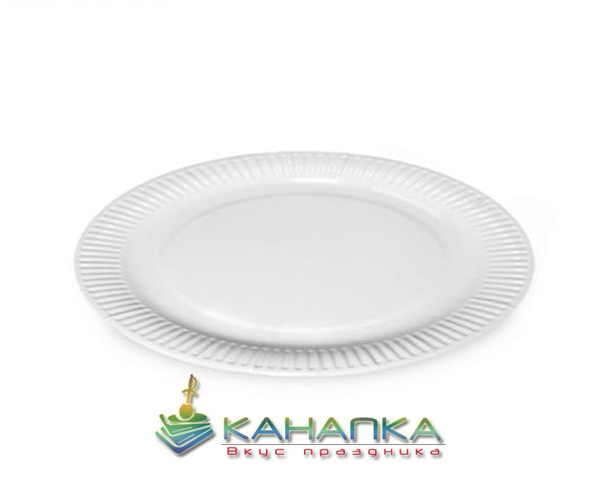 Тарелка бумажная белая 185 мм. -6 шт.